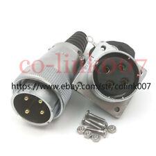 WS32 4pin Power Connector,50A Aviation Bulkhead Plug Socket LED Plug+ Earth Wire