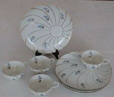Vintage Japan 4 Serving/Saucers & Cups Blue Flowers Gold Trimmed - 8 Pieces