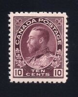 Canada Sc #116a (1912) 10c Reddish Purple Admiral VF NH