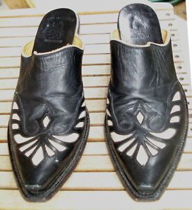 Monarca Old Gringo Women's Mules Boots Size 10B Black White Inlay