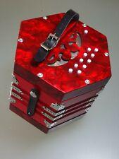 Konzertina (rot) mit 2 x 10 Diskantknöpfen, fast neu.