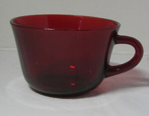 Ruby Red Depression Glass Tea Coffee Cup Mug USED