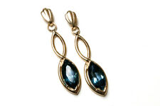 9ct Gold London Blue Topaz Drop dangly earrings Made in UK Gift Boxed