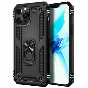 For iPhone12 iPhone12 Pro Case Metal Ring Kickstand Cover Military Grade