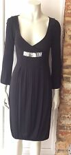 MARCELANE BLACK DEEP V NECK DRESS SIZE 10 FITS SMALLER 6/8