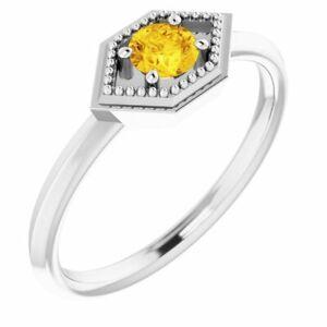 Yellow Sapphire Geometric Ring In Platinum