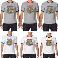 Devil's Music Printed Men's Ringer T-shirt Two Tone Short Sleeve Cotton Tops