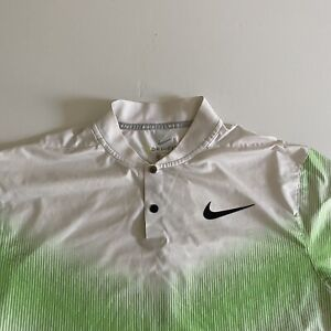 Nike Tiger Woods Collection Dri Fit Mens M Green/White Henley S/S Golf Shirt