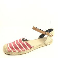 Sperry-Top Sider Womens Size 8 M Red/White Flat Espadrille Sandals.