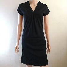 C210 - Ice Iceberg V-Neck Short Sleeved Black Dress