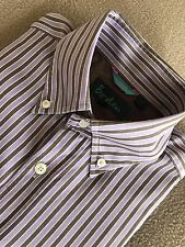 "Boden Size 15"" Purple White & Brown Striped Long Sleeved Shirt"
