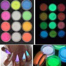 DIY Acrilico En Polvo Pigmento Luminoso Fluorescente Para Las Uñas Paquete De 12