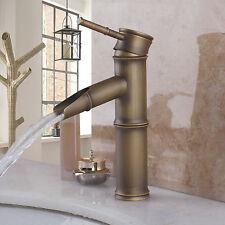 Antique Brass Vanity Single Handle Waterfall Bath Basin Sink Faucet Mixer Tap-B