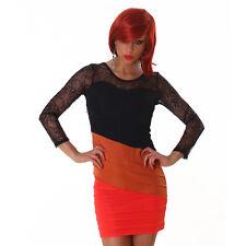 Sexy Langarm Kleid Minikleid halbtransparent Spitze Schwarz Braun Apricot  S / M