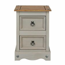 CORONA Grey Wash 2 Drawer Petite Bedside Cabinet - in Solid Pine