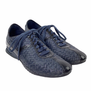 Cole Haan Air Bria Leather Woven Low Top Navy Blue Oxford Sneakers 9AA Narrow