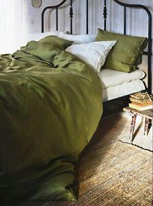 Ikea PUDERVIVA Full/Queen Duvet Cover w/2 Pillowcases Set 100% Linen Olive Green