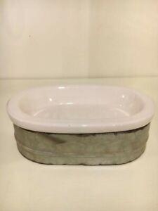 Tin/Porcelain Farmhouse Style Soap Dish - 2 piece Set
