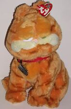 """TY Beanie GARFIELD Cool Gatto Morbido Peluche 10"""" seduta giocattolo Colletto & Nome Tag 2004"""