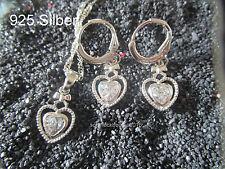925 Silber-Schmuck Set- Herz- Schleife-  Zirkon- Kette + Creolen - Hochzeit
