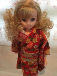Takara Japan Licca friend doll 22.5 cm tall in Cotton Kimono & Obi - Doll 4 of 5