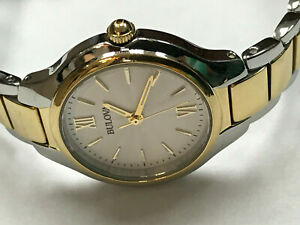 Bulova 98L217 Two-Tone Silver Dial Stainless 28mm Ladies Quartz Watch WARRANTY