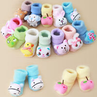 UK Toddler Kids Baby Girls Boys Anti-Slip Warm Cartoon Socks Slipper Shoes Boots