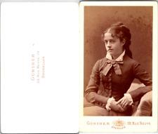 Günther, Bruxelles, Jolie jeune femme Vintage CDV albumen carte de visite CDV,