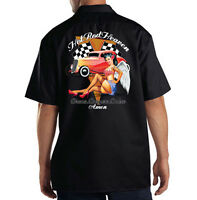 Dickies Black Mechanic Work Shirt Hot Rod Heaven Car Pin Up Girl