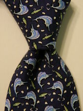 VINEYARD VINES Martha's Boys Youth 100% Silk Necktie Luxury FISH Blue/White EUC