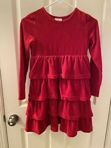 Hanna Andersson Ruffle Tiered Long Sleeve Dress Red Velvet Velour Size 140 US 10