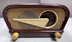 """Vintage PHILCO tube radio """"FLYING WEDGE"""" 48-230-121 retro Transitone ivory 1948"""