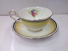 Vintage Victoria Bone China Tea Cup & Saucer England Rose Yellow Gold C&E