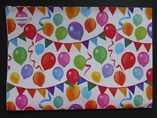 2 Sheets Gift Wrap BALLOONS and BUNTING Birthday Wrapping Paper Tag