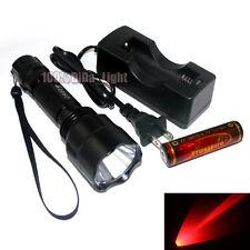 Ultrafire C8 Cree rojo de luz LED 1mode Linterna +1 X 18650 Batería Cargador Set
