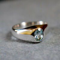 Faceted Blue Topaz Gemstone 925 Sterling Silver Birthstone Gift Ring Jewelry