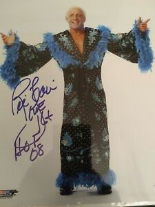Autographed Ric Flair 16X Champion HoF '08 8x10 Picture Cert of Auth