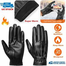 2019 Leather Full Finger Mens Motorcycle Driving Winter Warm Touch Screen Gloves