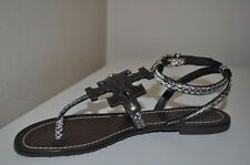 Tory Burch Sz 7.5 CHANDLER Snake Embossed Flat Thong Sandal T Strap Ankle Strap