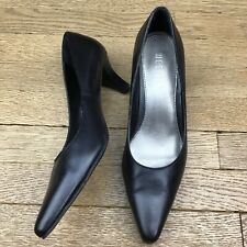 Westies Women Black Leather Heels Shoes Classic Pumps Size 6.5