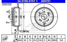 ATE Juego de 2 discos freno Trasero 304,5mm para HONDA CR-V 24.0109-0151.1
