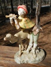 Vtg Depose Italy Figurine,755, Spider Mark, Flute Playing Shepard Boy with Doe