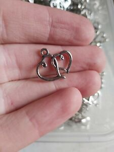 25 x Love heart together 17x19mm Charms Pendants UK New jewellery making (L500)
