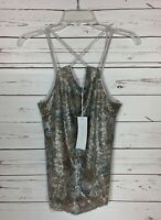 Lush Nordstrom Women's S Small Gray Cropped Sleeveless Spring Top Tank NEW TAGS