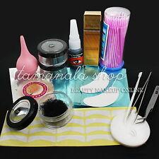 8/10/12mm false individual eye lash extension Set - tweezers /Glue /Eye Pad kit