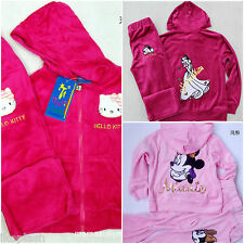 Girls Minnie Mouse Hello Kitty Velour Tracksuit Hoodie Top Bottom Set 3-7 Years