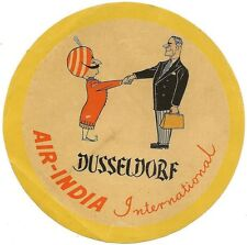 """Air India 1954 5"""" or 14cm label for Dusseldorf Germany"""