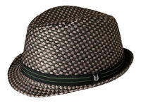Gamble & Gunn 'Crunch' Stingy Brim Mod / Ska Fedora Hat Black & Grey Check