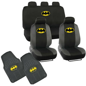 Batman Car Seat Covers W/ 2 PC Rubber Floor Mat - Warner Brothers Products