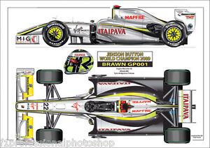 2009 Brawn GP001 Jenson Button  World Champion ltd ed/250 art print A4